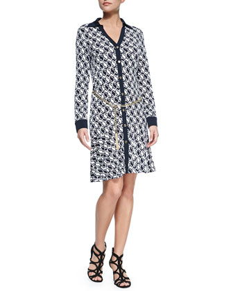 Long-Sleeve Honeycomb Geometric Shirtdress