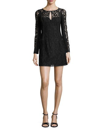 Adora Long-Sleeve Floral-Lace Dress