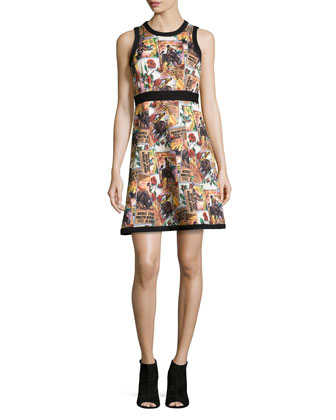 Postcard Sleeveless Printed Silk Dress