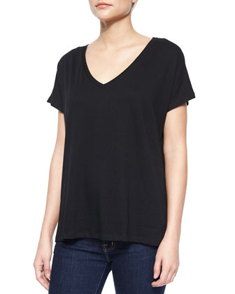 V-Neck Cotton High-Low Tee