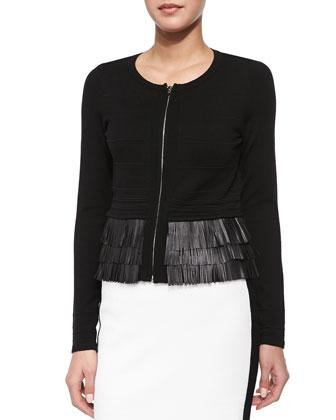 Fierce Lambskin Leather Fringe Cardigan & La Musica Skirt with Contrast ...