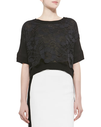 Mantilla Lace Tee with Ribbed Trim & La Musica Skirt with Contrast ...