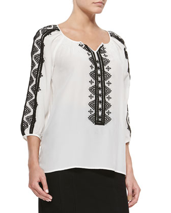 Rhumba 3/4-Sleeve Embroidered Blouse & Heart Slayer Slim Straight Skirt