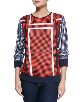 Caspian Long-Sleeve Grid Top