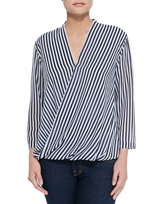 Boden Striped Surplus Blouse, Navy