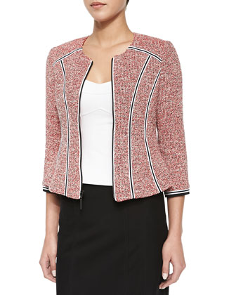 Arriba Tweed Blazer with Ribbon Trim
