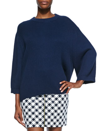 Ribbed Drop-Shoulder Sweater