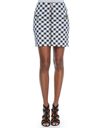Zip-Front Houndstooth Skirt
