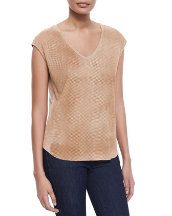 Suede-Cotton Combo Top