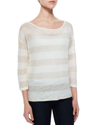 3/4-Sleeve Striped Linen Top