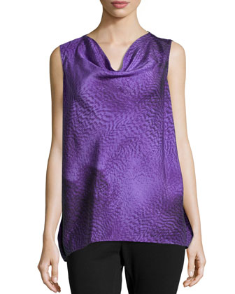 Sleeveless Cowl Neck Top, Iris