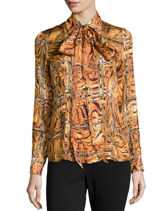 Printed Pointed Collar Blouse, Amber