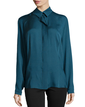 Pleated-Center Blouse, Peacock
