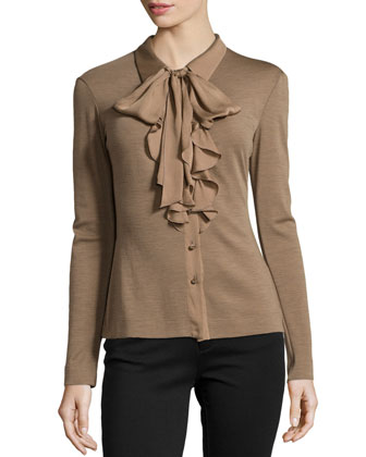 Ruffled-Front Wool-Blend Blouse, Tobacco