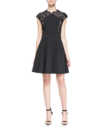 Vivace Cap-Sleeve Dress W/ Lace Sides