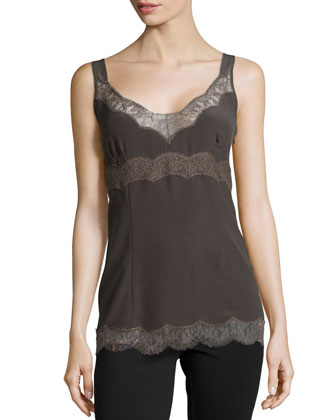 Sleeveless Silk Tank W/Lace Trim