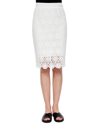 Rosi Floral-Lace Crop Top & Scarlett Floral-Lace Pencil Skirt