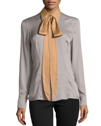 Silk Colorblock Tie-Neck Blouse, Platinum
