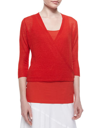 4-Way Knit Cardigan, Fire, Petite