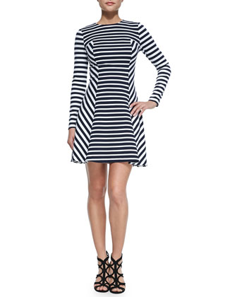 Lobamba Mix-Striped Flare Dress