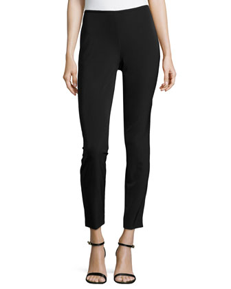 Skinny Low-Rise Cropped Pants, Black
