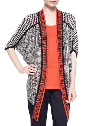 Fire-Trim Long Tribal-Print Cardigan, Scoop-Neck Perfect Tank & Slim ...