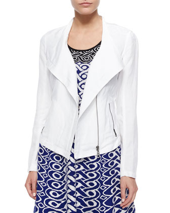 Sundown Moto Crop Jacket, Paper White, Petite
