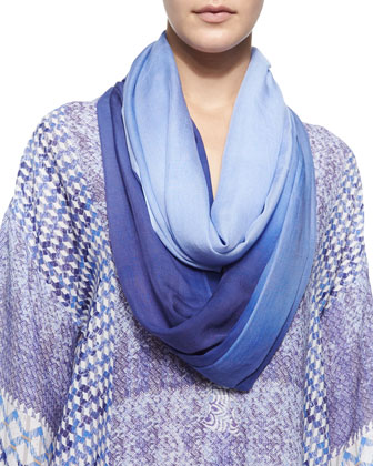 Ombre Scarf with Fringe Trim