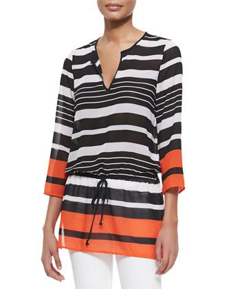 Striped Georgette Drawstring Top