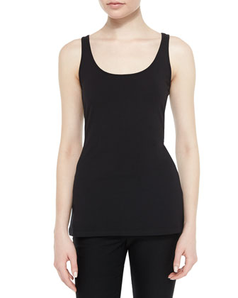 Scoop-Neck Perfect Tank, Black, Petite