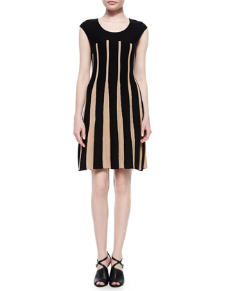 Linear Lines Twirl Dress, Black/Tan, Petite