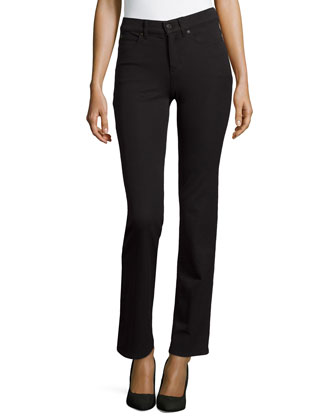 Straight-Cut Five-Pocket Pants, Black