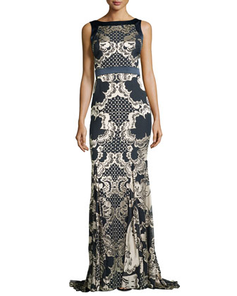 Sleeveless Lace Burnout Gown