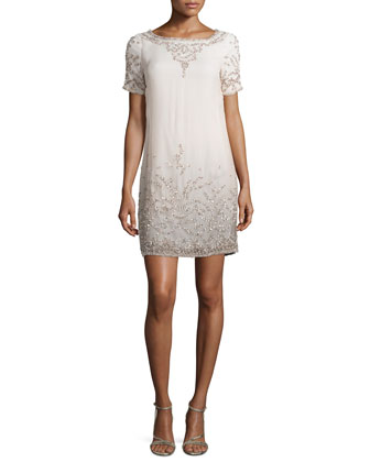 Textured Ombre Short-Sleeve Cocktail Dress, Peach
