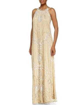 Sleeveless Halter Beaded Gown