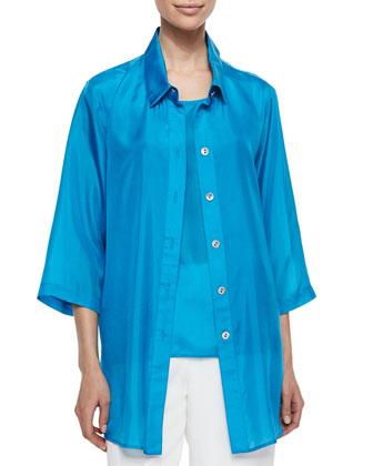 Tissue Silk Tank, Turquoise, Petite