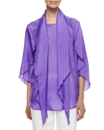 Tissue Silk Butterfly-Sleeve Top, Scarf & Crepe Straight-Leg Pants