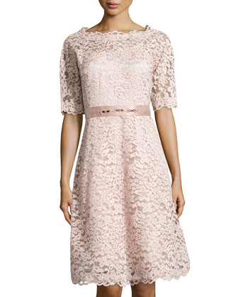 3/4-Sleeve Lace Flare Dress