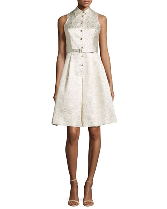 Sleeveless Jacquard Shirtdress