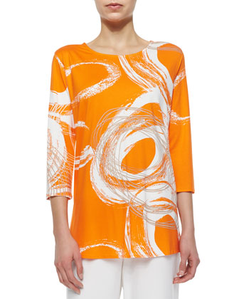 3/4-Sleeve Swirl-Print Knit Top, Women's