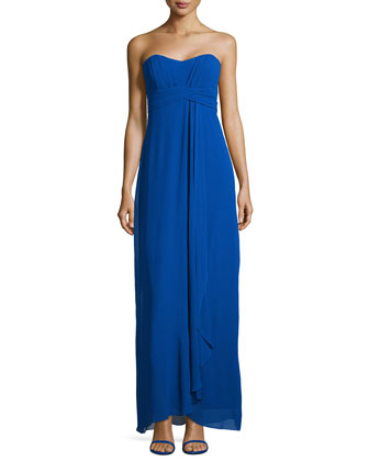 Strapless Empire Georgette Gown, Blue