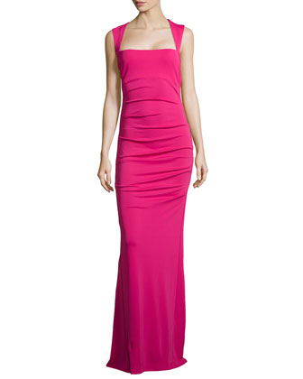 Felicity Sleeveless Ruched Jersey Gown, Carnation