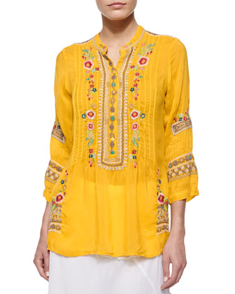 Katrina Embroidered Georgette Tunic, Women's