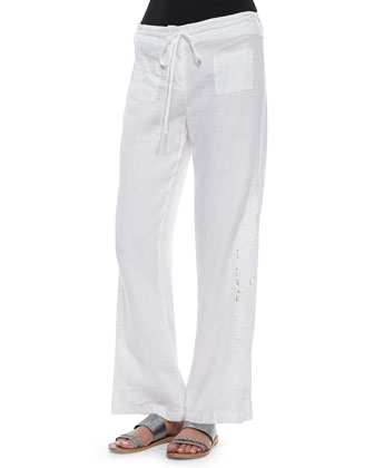 Crochet Linen Pants, White