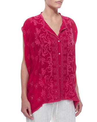 Cap-Sleeve Embroidered Button-Front Tunic