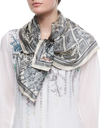 Johnny Was Rose Embroidered Georgette Tunic & Dragon Patch Silk Scarf, ...