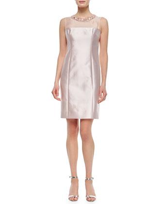 Sleeveless Beaded-Neck Dress