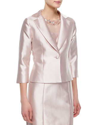 3/4-Sleeve One-Button Jacket, Blush