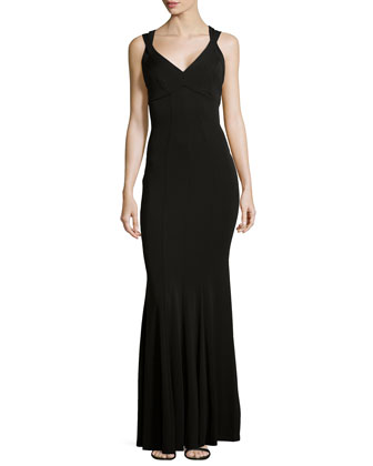 Laurence Sleeveless V-Neck Mermaid Gown, Black