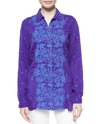 Ladera Embroidered Georgette Blouse, Women's